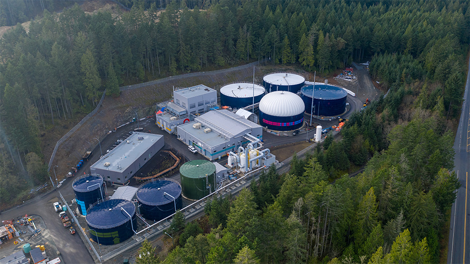 Arial view of biogas tanks